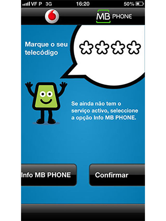 Imagem do interface da App MB Phone