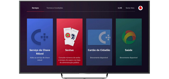 Menu do videoclube na Tv Box da Vodafone